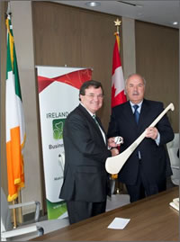 Minister of Finance Jim Flaherty delivers a speech at a luncheon hosted by the Ireland Canada Business Association