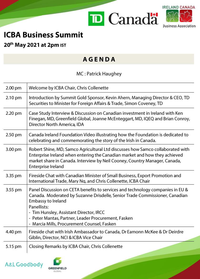 ICBA Business Summit Agenda 2021