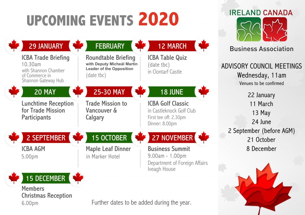 ICBA Upcoming Events 2020