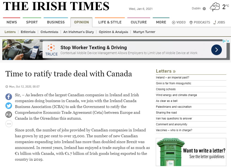 Time to ratify trade deal with Canada